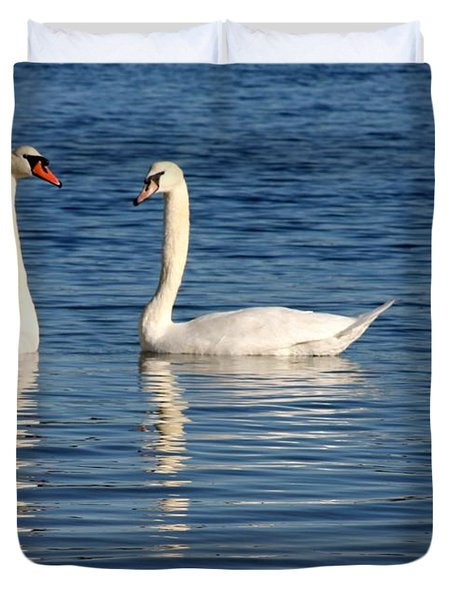 Swan Mates Duvet Cover by Sabrina L Ryan