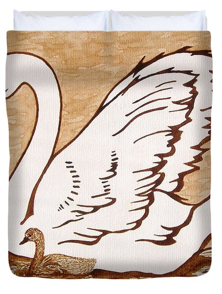 Swan With Chick Original Coffee Painting Duvet Cover by Georgeta  Blanaru