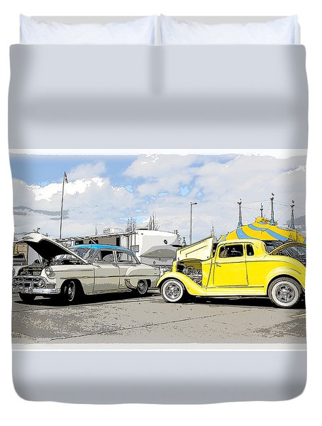 Swap Meet Plymouth And Chevy  Duvet Cover by Steve McKinzie