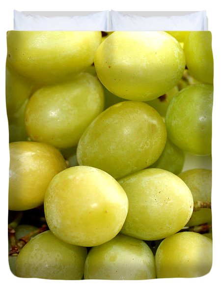 Sweet Green Grapes Duvet Cover by Barbara Griffin