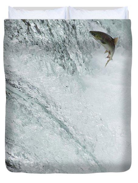 Swimming Upstream Duvet Cover by Gloria & Richard Maschmeyer