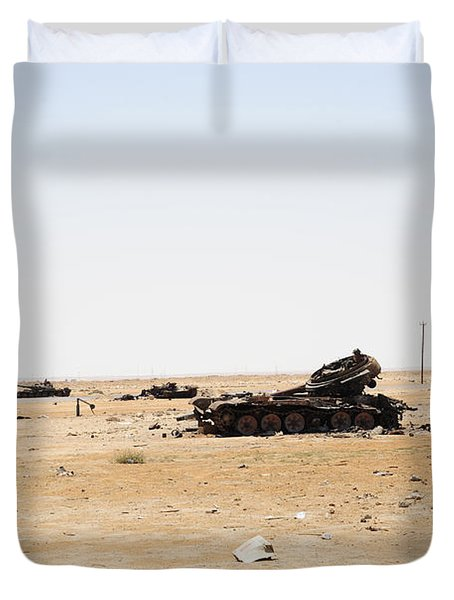 T-55 Tanks Destroyed By Nato Forces Duvet Cover by Andrew Chittock