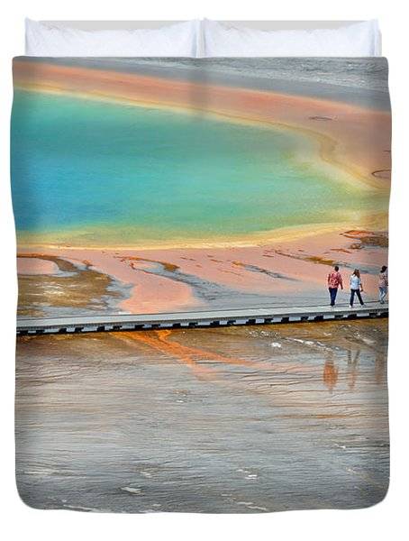 Taking a Stroll at Yellowstone's Grand Prismatic Duvet Cover by Bruce Gourley