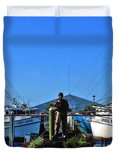 Tarpon Springs Waterfront Duvet Cover by Susanne Van Hulst