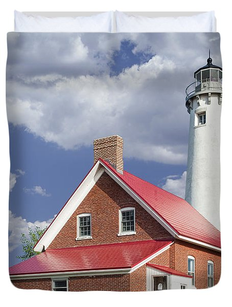 Tawas Point Lighthouse In Michigan Number 0007 Duvet Cover by Randall Nyhof