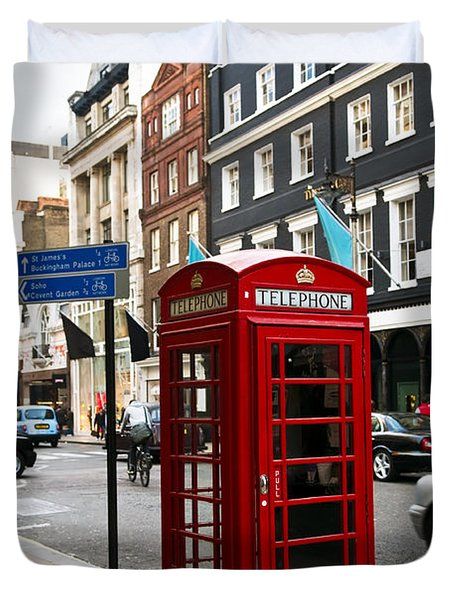Telephone box in London Duvet Cover by Elena Elisseeva