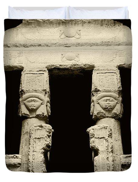 Temple Of Hathor Duvet Cover by Photo Researchers, Inc.