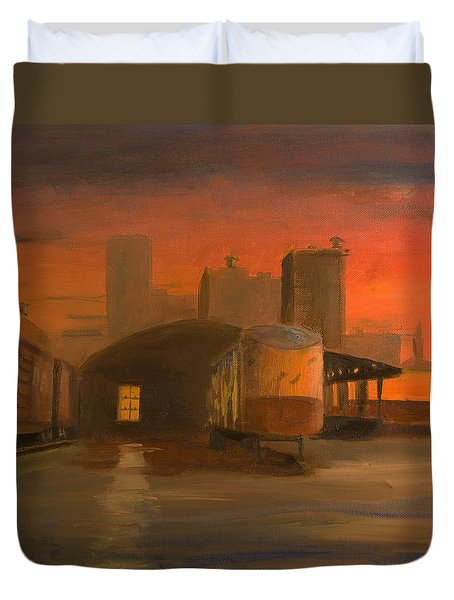 Terminal Transfer Duvet Cover by Christopher Jenkins