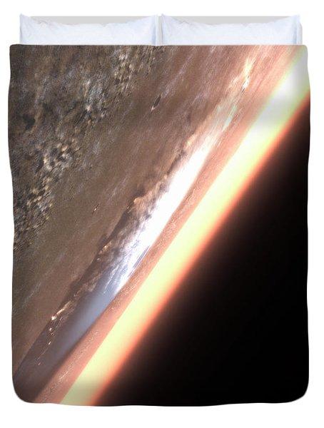 Terragen Render Of Olympus Mons On Mars Duvet Cover by Rhys Taylor