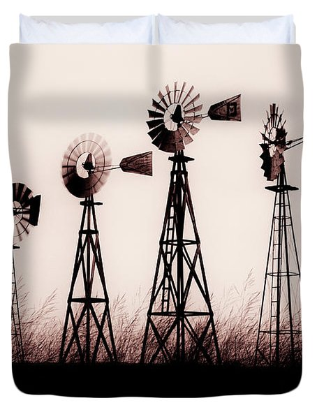 Texas Windmills Duvet Cover by Tamyra Ayles