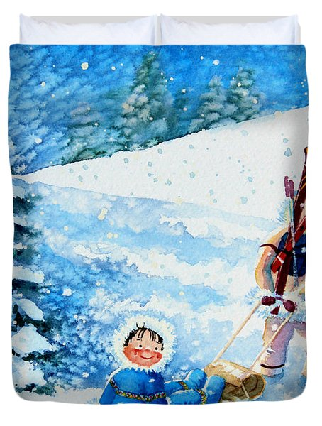 The Aerial Skier - 1 Duvet Cover by Hanne Lore Koehler
