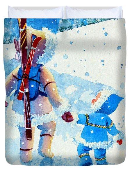 The Aerial Skier - 2 Duvet Cover by Hanne Lore Koehler