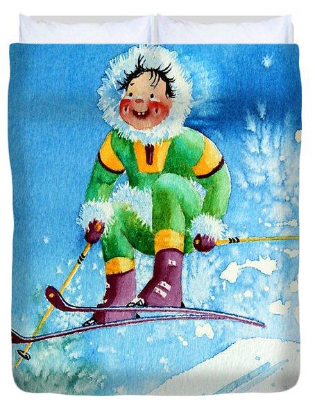 The Aerial Skier - 9 Duvet Cover by Hanne Lore Koehler