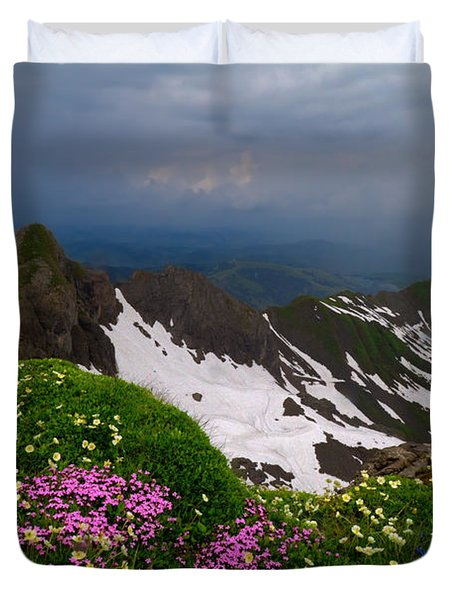 The Alps Wildflowers Duvet Cover by Debra and Dave Vanderlaan