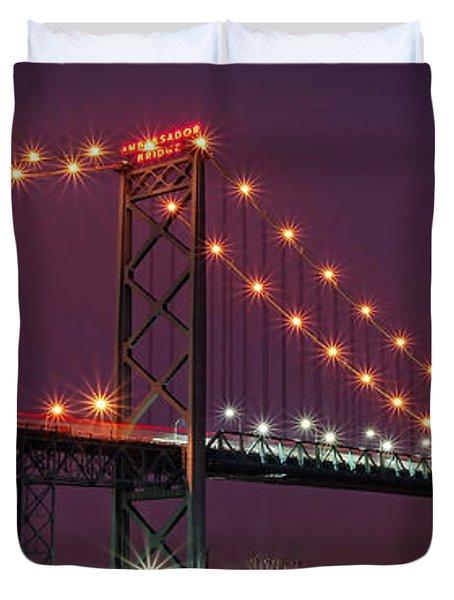The Ambassador Bridge at Night - USA To Canada Duvet Cover by Gordon Dean II