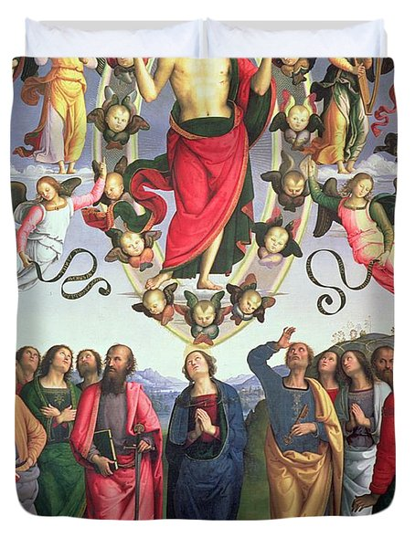 The Ascension Of Christ Duvet Cover by Pietro Perugino