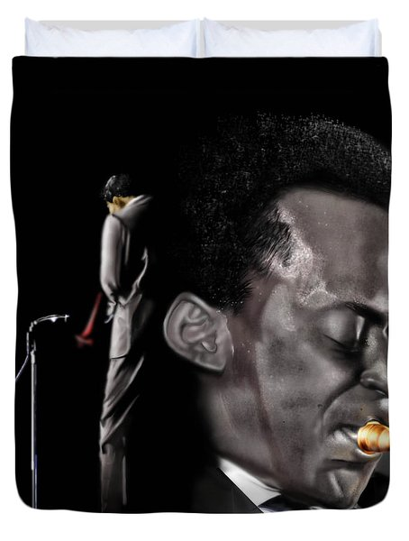The Back And The Affront Of Miles Davis Duvet Cover by Reggie Duffie