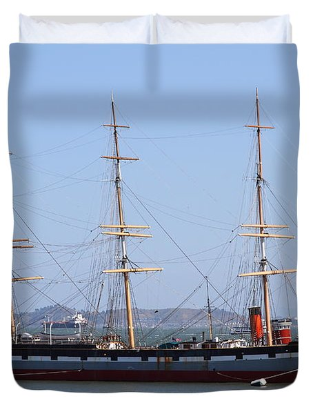 The Balclutha . A 1886 Square Rigged Cargo Ship At The Hyde Street Pier In Sf California . 7d14069 Duvet Cover by Wingsdomain Art and Photography