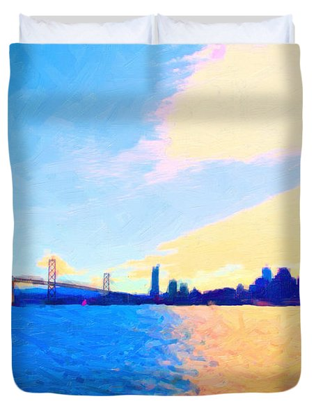 The Bay Bridge and The San Francisco Skyline Duvet Cover by Wingsdomain Art and Photography