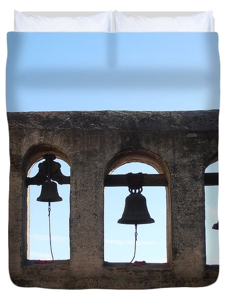 The Bells At The San Juan Capistrano Mission Duvet Cover by Pat Cannon