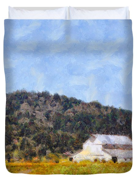The Big White Barn At Point Reyes California . 7d15933 Duvet Cover by Wingsdomain Art and Photography