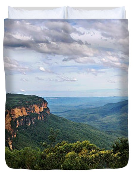 The Blue Mountains - Panoramic View Duvet Cover by Kaye Menner