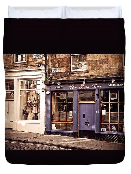 The Bow Bar. Edinburgh. Scotland Duvet Cover by Jenny Rainbow