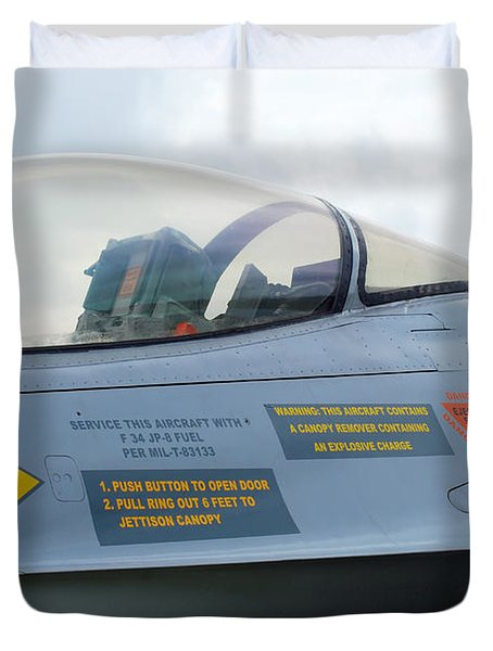 The Cockpit Of An F-16 Fighting Falcon Duvet Cover by Luc De Jaeger