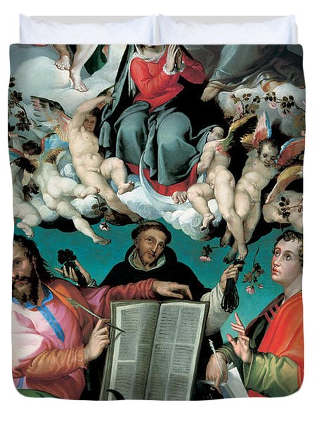 The Coronation Of The Virgin With Saints Luke Dominic And John The Evangelist Duvet Cover by Bartolomeo Passarotti
