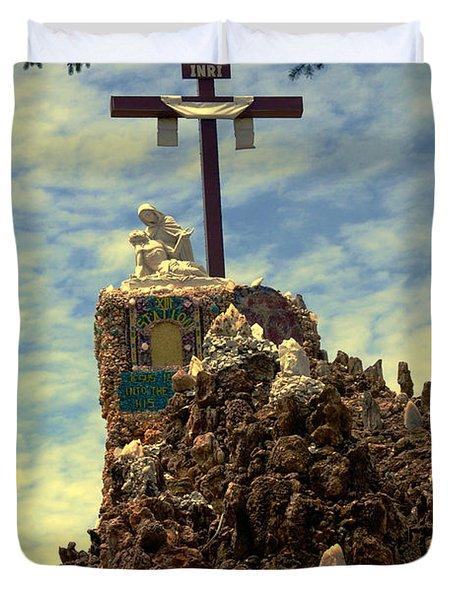 The Cross IIi In The Grotto In Iowa Duvet Cover by Susanne Van Hulst