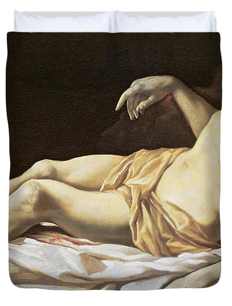 The Dead Christ Duvet Cover by Charles Le Brun