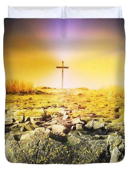 The Death Spot Of St. Cuthbert On Holy Duvet Cover by John Short