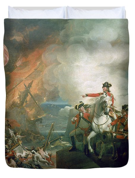 The Defeat Of The Floating Batteries At Gibraltar Duvet Cover by John Singleton Copley