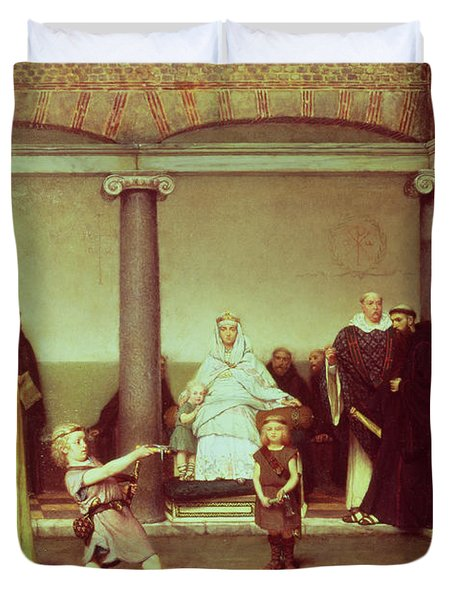 The Education Of The Children Of Clothilde And Clovis Duvet Cover by Sir Lawrence Alma-Tadema