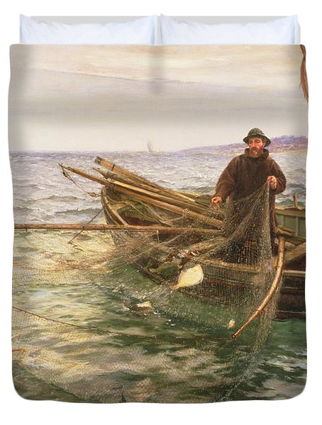The Fisherman Duvet Cover by Charles Napier Hemy