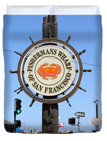 The Fishermans Wharf Sign . San Francisco California . 7d14225 Duvet Cover by Wingsdomain Art and Photography