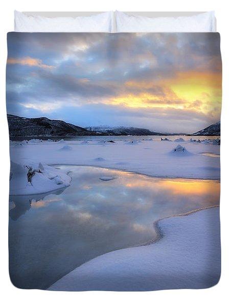 The Fjord Of Tjeldsundet In Troms Duvet Cover by Arild Heitmann