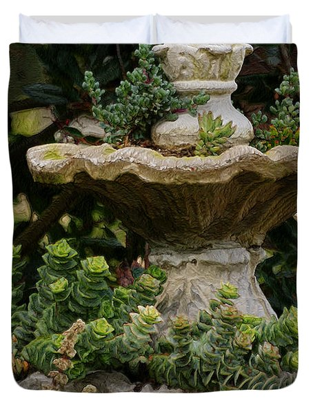 The Fountain Painterly Duvet Cover by Ernie Echols