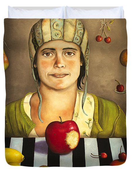 The Fruit Collector 2 Duvet Cover by Leah Saulnier The Painting Maniac