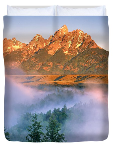 The Grand Tetons Duvet Cover by Dennis Flaherty and Photo Researchers