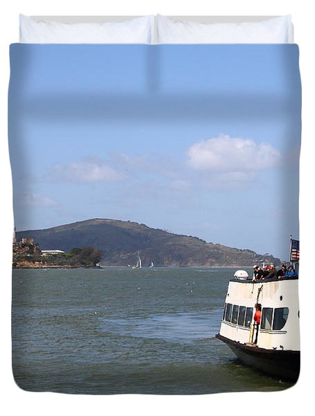 The Harbor King Ferry Boat On The San Francisco Bay With Alcatraz Island In The Distance . 7d14355 Duvet Cover by Wingsdomain Art and Photography