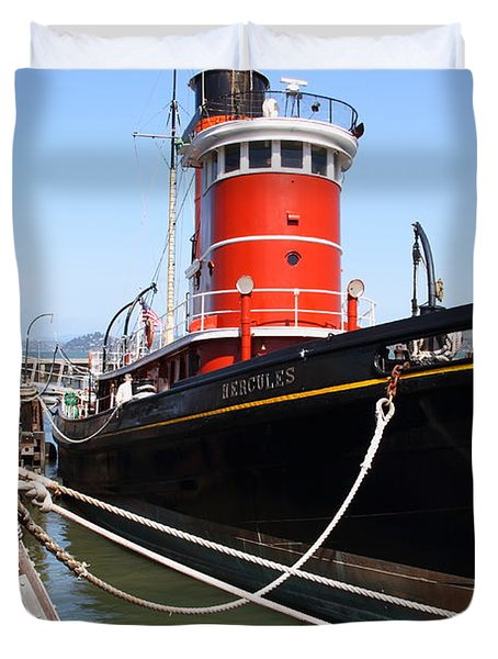 The Hercules . A 1907 Steam Tug Boat At The Hyde Street Pier in San Francisco California . 7D14137 Duvet Cover by Wingsdomain Art and Photography