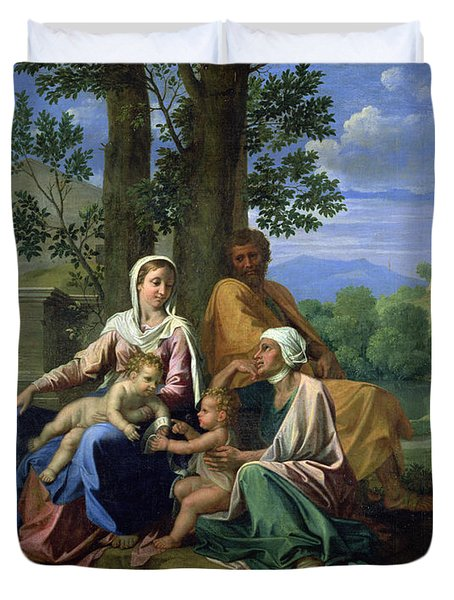 The Holy Family With Ss John Elizabeth And The Infant John The Baptist Duvet Cover by Nicolas Poussin