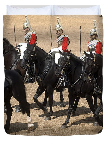 The Household Cavalry Performs Duvet Cover by Andrew Chittock