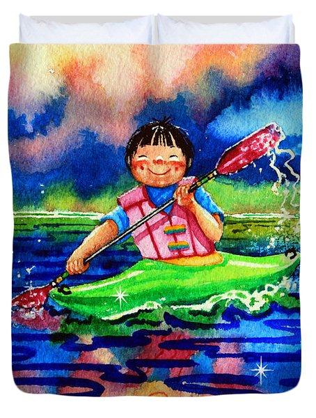 The Kayak Racer 11 Duvet Cover by Hanne Lore Koehler