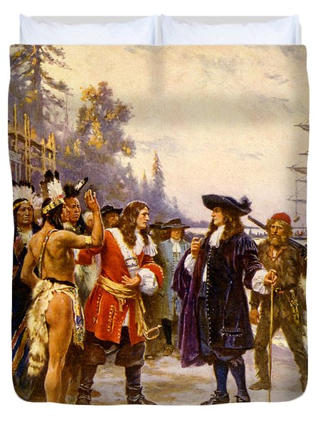 The Landing Of William Penn, 1682 Duvet Cover by Photo Researchers