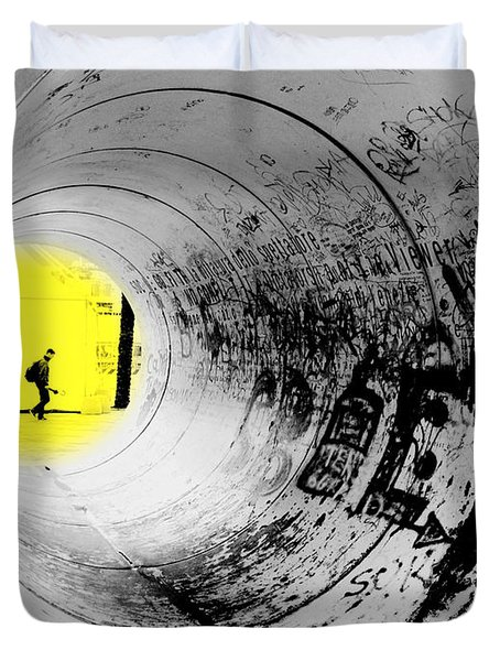 The Light At The End Of The Tunnel Duvet Cover by Valentino Visentini