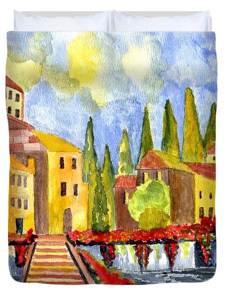 The little Village Duvet Cover by Connie Valasco
