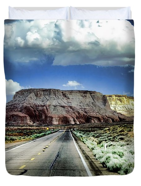 The Long And Lonely Road Duvet Cover by Ellen Heaverlo