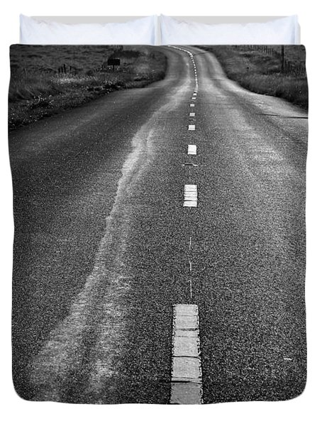 The Long Road Home . 7D9898 . Black and White Duvet Cover by Wingsdomain Art and Photography